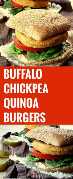 These Buffalo veggie burgers made by blending quinoa and chickpeas with spicy cayenne pepper sauce. Skip the frying Vegan Vegetarian, Vegetarian Recipes, Vegetarian Sandwiches, Healthy Sandwiches, Going Vegetarian, Vegetarian Breakfast, Vegetarian Dinners, Burger Recipes, Vegan Food
