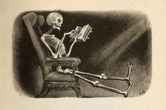 Reading skeleton illustrated by Cyril Bouda, from The Canterville Ghost by Oscar Wilde, 1957 edition*