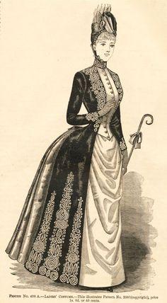 Delineator Magazine - 1888 Ladies Costume and Toilette Victorian Era Fashion, 1880s Fashion, Victorian Costume, Victorian Steampunk, Vintage Fashion, French Fashion, Gothic Fashion, Historical Costume, Historical Clothing
