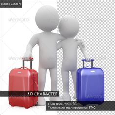 Couple Ready to Go Away with their Suitcases - Characters 3D Renders