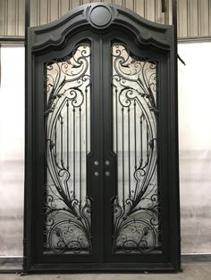 All of our doors are custom built to your exact dimensions. Please provide desired width and height for a free quote. Metal Gate Door, Metal Screen Doors, Iron Front Door, Iron Doors, Gate Wall Design, Front Door Design Wood, Double Door Design, Wrought Iron Driveway Gates, Wrought Iron Decor