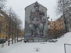 The streets of Oslo, once just the roaming ground of artists like Dolk, have now become a playground for artists from all over the globe. Amazing Street Art, Street Art Graffiti, Street Artists, Oslo, Playground, Norway, Mount Rushmore, Sculptures, Tours
