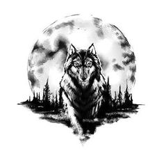 Black and gray wolf in front of huge moon.