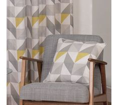 Delta Grey & Yellow Luxury Lined Eyelet Curtains (Pair) - Julian Charles Yellow And Grey Cushions, Yellow And Grey Curtains, Grey And Yellow Living Room, Grey Room, Grey Yellow, Living Room Decor Curtains, Living Room Furniture Layout, Living Room Windows, Living Room Sets