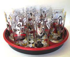 Vintage 1960 Gambling Themed Cocktail Set by Hazel Atlas Hazelware: 8 glasses…