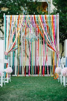 LOVE this colorful ribbon huppah!!! // photo by http://dearwesleyann.com