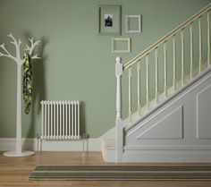 The Ultimate finish from Crown Paints Green Hallway Paint, Hallway Wall Colors, Hallway Colour Schemes, Living Room Windows, Living Room Paint, Living Rooms, Narrow Hallway Decorating, Flur Design, Hallway Designs