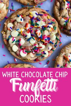 Desserts With Chocolate Chips, White Chocolate Chip Cookies, Chocolate Chip Recipes, Funfetti Cookies, Sprinkle Cookies, Cookie Cakes, Crazy Cookies, Gourmet Cookies, Cookie Recipes