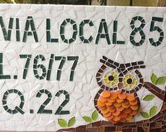 Número para Casa em mosaico Coruja G
