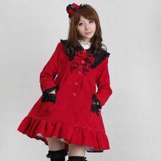 Petite - Plus Size Women Red Wool Vintage Style Lolita Dress Coat SKU-11401554