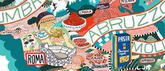Les produits et les vins italiens dans les illustrations d'Antoine Corbineau