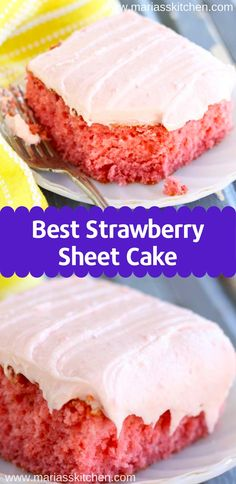 Best Strawberry Sheet Cake Recipe - Old fashioned strawberry sheet cake is bursting with strawberry flavor. Strawberry jello and fresh strawberry icing creates an explosion of color and taste. Strawberry Sheet Cakes, Homemade Strawberry Cake, Fresh Strawberry Cake, Strawberry Dessert Recipes, Old Fashioned Strawberry Cake Recipe, Best Strawberry Cake Recipe Ever, Recipes With Fresh Strawberries, Food Cakes, Cupcake Cakes