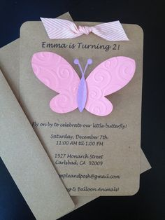 Butterfly Invitations Custom Made and Handmade for Kid's Birthday Party or Baby Shower on Kraft Paper, Set of 8 Invites