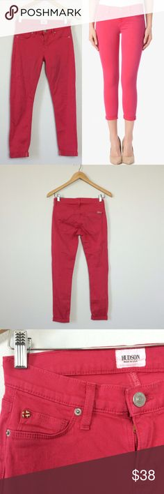 """Hudson Harkin crop super skinny cuff in pink Size 25.  Front rise 7"""", back rise 11"""", inseam 24"""". Crop skinny with cuff Hudson Jeans Jeans Ankle & Cropped"""