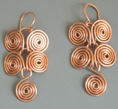 18 gauge copper Egyptian coil earrings