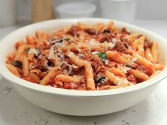 Sweet Sausage and Eggplant Penne recipe from Rachael Ray via Food Network