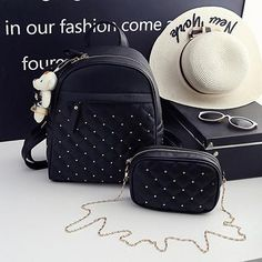 Womens Fashion Pu Leather Backpack With BONUS Bag - 2 Piece Set