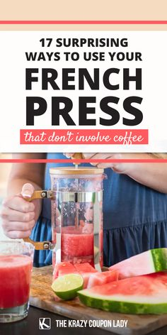Bet you never knew you needed French press hacks! If you have a French press but you're only using it for coffee, then you're doing it wrong, friends. If you're wondering how to use a French press for things that aren't coffee, then you've come to the right place. The Krazy Coupon Lady has the kitchen ideas, cooking tips, and life hacks that you need to know! Wash quinoa quickly, make DIY infused oils, learn how to froth milk, and even how to make almond milk. Make Almond Milk, Youre Doing It Wrong, French Coffee, Coupon Lady, Infused Oils, French Press, Household Tips, Quinoa, Cooking Tips