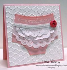 "Add Ink and Stamp: Ruffles for a Baby Girl. Card is 4-1/4"" X 4-1/4""  Stampin' Up!"