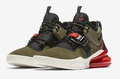 Official Look At The Nike Air Force 270 Medium Olive Challenge Red