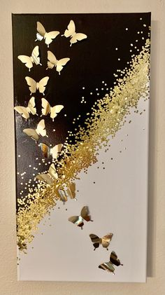 Diy Canvas Art, Diy Wall Art, Diy Art, Art Papillon, Sparkle Paint, Glitter Wall Art, Butterfly Wall Art, Butterfly Acrylic Painting, Gold Leaf Art