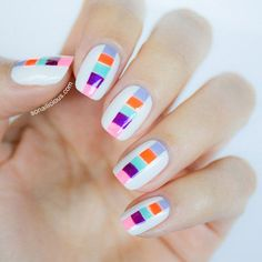 Color block nails and tutorial || 10 Best Nail Designs of 2013