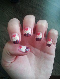 #cupcake #sweet #nails #heart #white #pink #violet