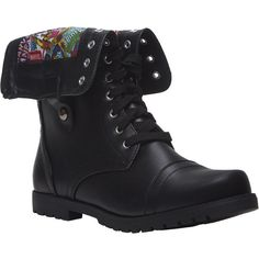Marvel Comics™ Foldover Combat Boots ($30) ❤ liked on Polyvore featuring shoes, boots, ankle booties, botas, sapatos, black, black chunky heel booties, military boots, lace up boots and faux leather booties