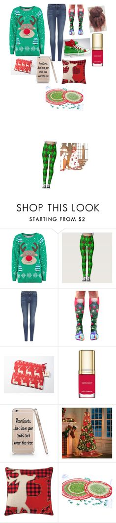 """""""Christmas Ugly Sweater Party💖"""" by cheercheercheer444444 ❤ liked on Polyvore featuring 7 For All Mankind, Converse, Dolce&Gabbana, Improvements and Home Decorators Collection"""