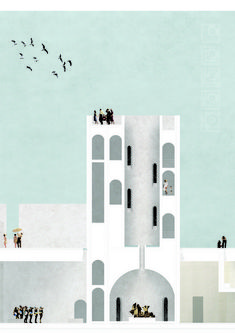 """The Website Behind the """"Post-Digital"""" Drawing Revolution,Lisbon-based architect Maria Morais used collages and textures to represent her project """"The Tagus Baths: Spaces of Water and Light in Aterro da Boavista"""". Image Courtesy of Maria Morais / KOOZA:RCH Collage Architecture, Architecture Board, Architecture Graphics, Architecture Visualization, Architecture Drawings, School Architecture, Sustainable Architecture, Architecture Design, Boston Architecture"""