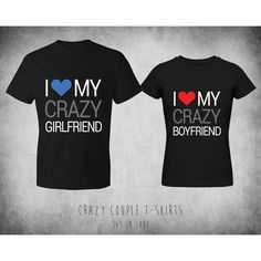 Cute Matching Crazy Couple T-shirt ($31) ❤ liked on Polyvore featuring tops, t-shirts, shirts, couples, couple stuff, christmas tops, valentines day t shirts, christmas t shirts, jersey cotton t shirts and tee-shirt