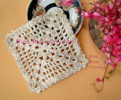 squares crochet | PINK ROSE CROCHET: Square Coaster Centrinho Quadrado para Copos