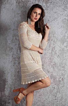 CROCHET DRESS. FREE DIAGRAM. Blouse Dress, Knit Dress, Dress Skirt, Crochet Woman, Knit Crochet, 80s Fashion, Fashion Outfits, Vestidos Fashion, Coats For Women
