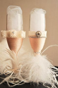 100% Handmade Wedding Flutes by DetailW on Etsy
