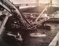 July the Second Narrows Bridge collasped while under construction, killing 19 men. The bridge would not be completed for another two years. Vancouver Bc Canada, Downtown Vancouver, Vancouver Island, Old Pictures, Old Photos, July 17, Most Beautiful Cities, Garages, Back In The Day