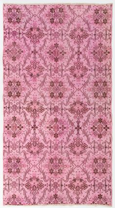 "3'8"" x 6'9"" (114 x 208 cm) Turkish Overdyed Rug, Soft Pink - Shipping Included by Zorlus on Etsy"