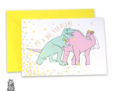 Surface Pattern Designs by TasherellaKitty on Etsy Mr and Mrs Roarsome - Dinosaurs - Wedding - Mr and Mrs Greetings Card