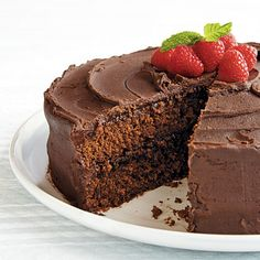 Gluten Free Chocolate Layer Cake.  This stunning dessert is also delicious using unsweetened almond milk in both the cake and frosting