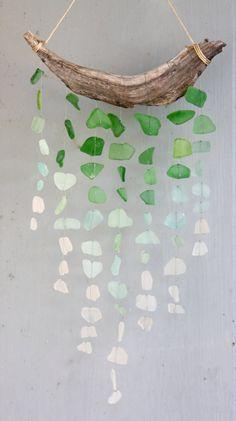 Sea glass & driftwood sun catcher   . . . .   ღTrish W ~ http://www.pinterest.com/trishw/  . . . .  #sea #ocean #beach