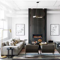 Achamos a lareira deste living super interessante! Do mesmo tom do mobiliário, ela se tornou um detalhe criativo no ambiente!