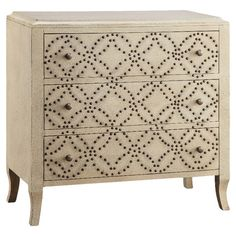 Hand-painted chest with 3 drawers and studded latticework detail.  Product: ChestConstruction Material: MDF...