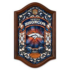 NFL-licensed stained-glass wall decor lights up from within. Full-color team logos and colors, images and year team was established. Denver Broncos Merchandise, Denver Broncos Football, Broncos Fans, Pittsburgh Steelers, Super Bowl Wins, Wall Decor Lights, Football Wall, Glass Design, Stained Glass