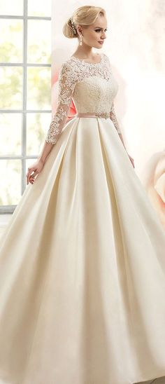 Gorgeous Satin Bateau Neckline Ball Gown Wedding Dre   sses with Lace Appliques