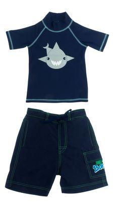 8508950835b66 Banz Boys Uv Swimwear Navy Shark SS top and Navy Boardshorts. Uv Swimwear,  Boardshorts