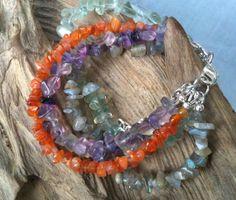 Natural Gemstone Chips Multi strand Bracelet by ZhiJewelry on Etsy, $35.00