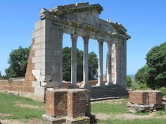 The century Bouleuterion or Hall of the Agonothetes was the ancient seat of the magistrates at Apollonia, Albania. The building was reconstructed between 1974 and Albania, Palermo, Brooklyn Bridge, Coastal, Building, Travel, Voyage, Buildings, Viajes