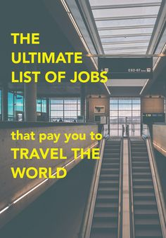 "This list is separated into four sections:       * Location-based opportunities: you're typically based in one location,       though often you can do this in a foreign city/country (live like a       local!) and can travel on your off-hours     * Work while you travel opportunities: travel is usually a main       component of these jobs, so you would literally be traveling for your       job. Keep in mind that you'd be working; it's not a vacation!     * Location-independent (""digital…"