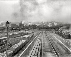 """Scranton, Pennsylvania, circa 1900. """"Delaware, Lackawanna, and Western Railroad yards."""""""