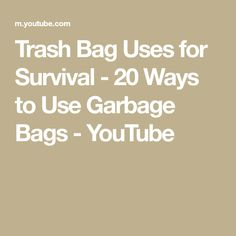 Trash Bag Uses for Survival - 20 Ways to Use Garbage Bags