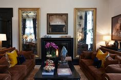 Antq. gilded, symmetrically hung mirrors. - either side of FP, Great Rm